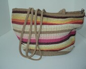 Vintage  Slouch Pouch Purse  Shoulder Bag  with Colorful striped woven straw  pattern in Vintage Condition, Great for a Day at the Beach