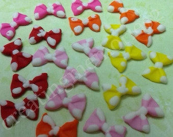 FONDANT BOWS toppers for cupcakes, cakes or cookies. Polka dot pink, red, yellow and orange bows for birthdays, weddings, graduations