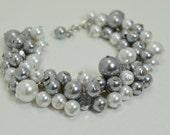 Gray and White Cluster Bracelet with Crystals, Grey Bridal Jewelry, Wedding Bracelet, Gray Bracelet. Chunky Bracelet, Bridesmaids Jewelry