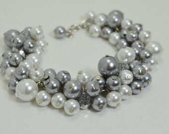 Set of 6 - Gray and White Cluster Bracelet, Grey Bridal Jewelry, Wedding Bracelet, Gray Bracelet. Chunky Bracelet, Gray Bridesmaids Jewelry