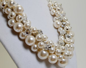 Ivory Pearl Cluster Necklace, Bauble Necklace, Ivory Pearl Rhinestones and Crystal Necklace, Chunky Necklace, Bridal Jewelry, Pearl Necklace