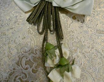 1920's Pale Blue Silk Bow Applique