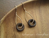 14K Gold Filled Coils and Wooden Ring Earring-EG326-Jacinth