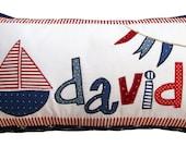 Nautical Pillow Cover - Boy Name Throw Personalized Applique Pillow Children Gift Beach House