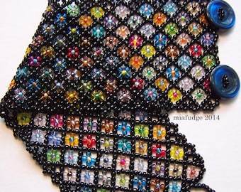 Seed Bead Bracelet Black with Flowers Blue Buttons WIDE