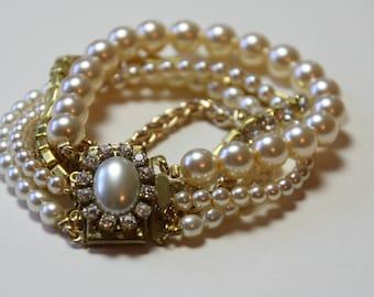 Bridal Bracelet Multi strand Gold Vintage Wedding Bracelet Cream Pearls Rhinestone Crystal Bridal Jewelry Bracelet Antique Heirloom jewelry