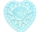 SALE 25 Heart Cabochons - Blue - Rose Flowers - Embellishments - 18x17mm - Ships IMMEDIATELY from California - C94