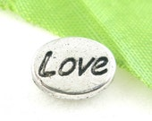"Silver Spacer Beads - Antique Silver - ""Love"" - 10x8mm -  8pcs - Ships IMMEDIATELY  from California - B1036"