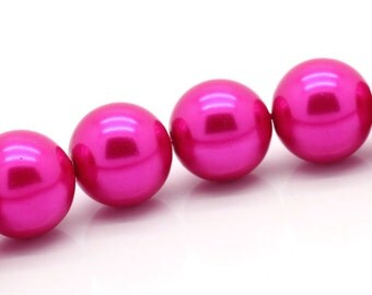 50 Fuchsia Pearls - Beads - Glass - 16mm - 1 Strand - Ships IMMEDIATELY from California - B850