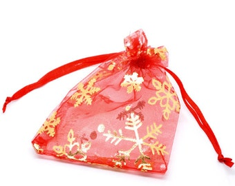 "100 Red Organza Bags - Snowflakes - Draw String - 12x9cm - 4 3/4"" x 3 1/2"" - Ships IMMEDIATELY  from California - BAG07-100"