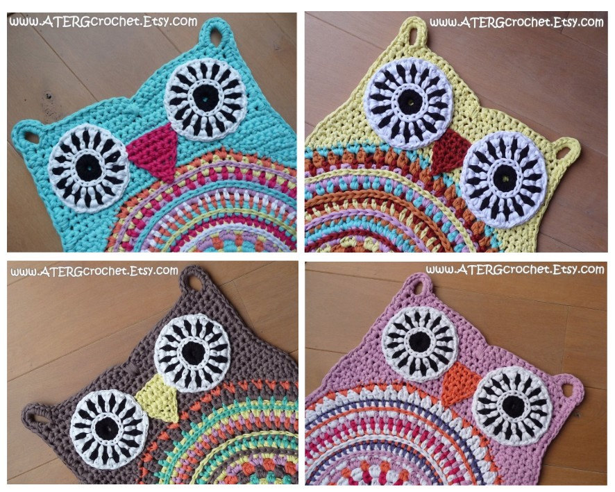 Xl Crochet Patterns : Crochet pattern owl rug by ATERGcrochet XL by ATERGcrochet