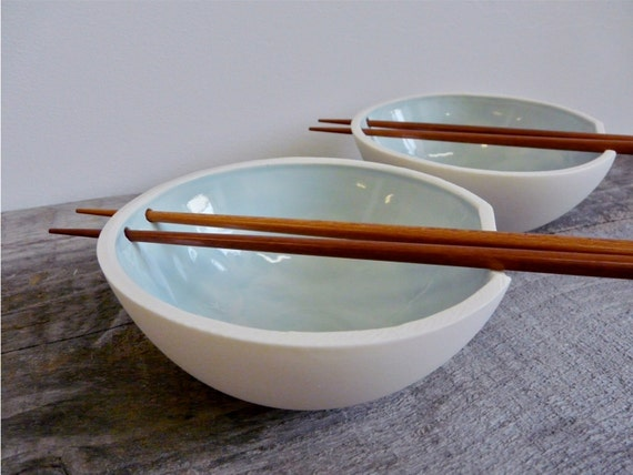 Porcelain Rice Bowl with Chopstick Holder Celedon Glaze
