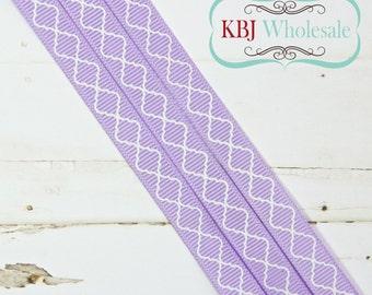 "Lavender Quatrefoil Lattice - Custom - 3/8"" Grosgrain Ribbon - 3 yards"