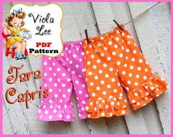 Tara...Girl's pdf Sewing Pattern. Girl's Ruffled Capris Pattern & Ruffled Shorts Pattern, Toddler Pants Pattern. Girl's Pants pdf Pattern.