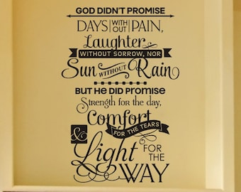 Religious Home Decor Wall Decal God Didn't Promise Days Without Pain Wall Sticker Vinyl Lettering Living Room Wall Decor Childrens Bedroom