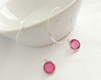 Darling Pink, Hoop-Dangle Earrings