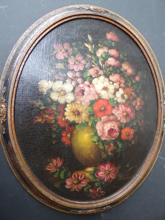 1930 S Oval Oil Painting On Artist Board Antique Floral