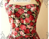 Floral Bridesmaid Dress Red Rose Floral Sundress Romantic Party Dress Vintage Mod Dress Tea Dress Christmas Dress -Size XS-XL,Custom-