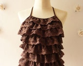Lace Summer Blouse Sexy Brown Lace Halter Top Summer Beach Party Brown Lace -Size S-M