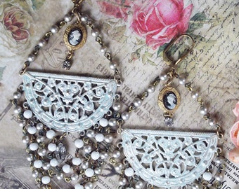 Filigree Vintage Rosary Chain Vintage Crystals Cameo Large Chandelier Earrings