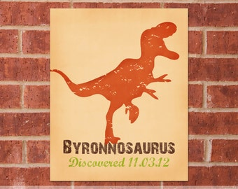 Personalized Dinosaur Canvas - 8x10 - T-Rex - Dinosaur Name Art - Dinosaur Gift