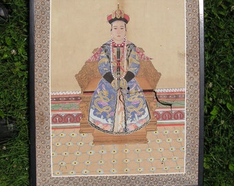 Large Vintage Oriental Painting -  High Quality - Some damage