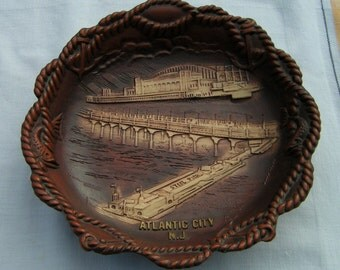 1950s ATLANTIC CITY -  Souvenir Bowl  - Steel Pier ANCO Made of Composite plastic Nautical Decor