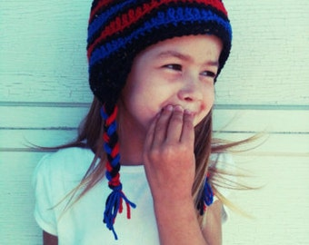 Kids Winter Hat in blue, red and black