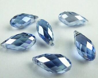 "Briolette, blue, crystal, Pendant, Beads,12x6mm / 0.47 x 0.236 "", quartz, top side drilled,"