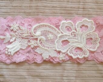 Pink garter, Lace garter, Wedding Garter - Vintage Applique, bridal garter