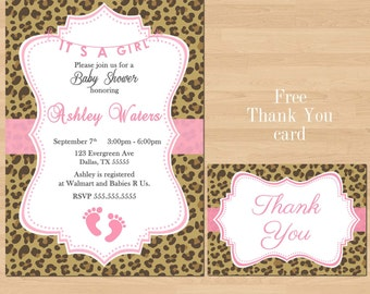 Printable Pink Leopard Baby Shower Invitation Its a girl Free Thank You Card