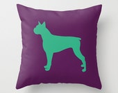 Boxer Silhouette Throw Pillow (Cover ONLY) : Solid Custom Colors