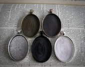 6 Large Oval Pendant Blank Tray settings-  Silver, Antique Silver or Antique Bronze Bezels 30 mm x 40mm Photos Charms