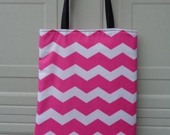 Reversible Tote Bag: Chevron pink