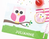 Personalized Placemat for Kids - Owl Personalized Placemat - Custom Placemat - laminated, double-sided