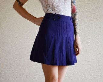 1960s SML royal purple pleated high waist side zip up skirt lined