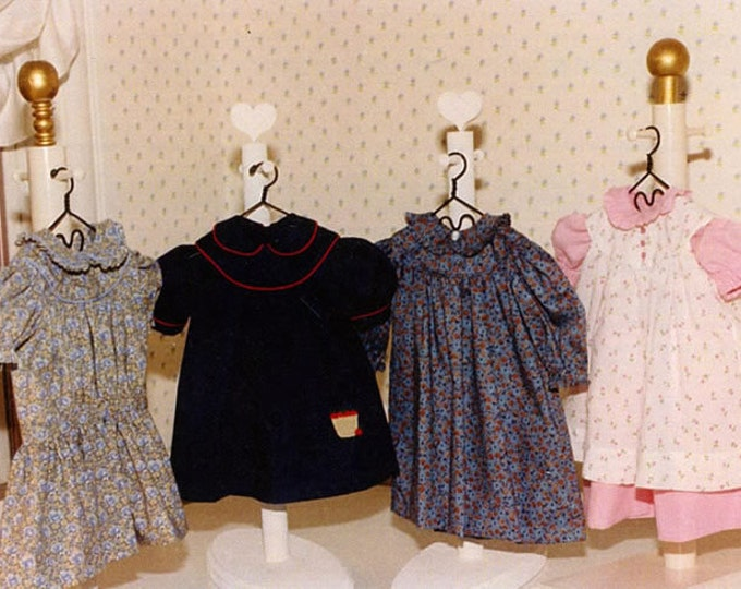 "Round Yoke Dresses and Pinafore Pattern for an 18"" doll by Carol Clements"