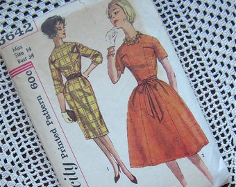 Vintage 50s, 60s Dress Sewing Pattern, Simplicity, 3642