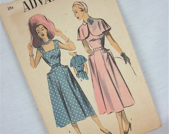 Vintage 40s Summer Dress and Capelet Sewing Pattern, Advance, 5511