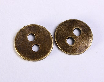 11mm antique brass button - 11mm 2 holes round button - 11mm metal button (1148) - Flat rate shipping