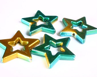 Sale Clearance 20% OFF - Green and gold large star beads 39mm  - 4 pieces (1375)2)