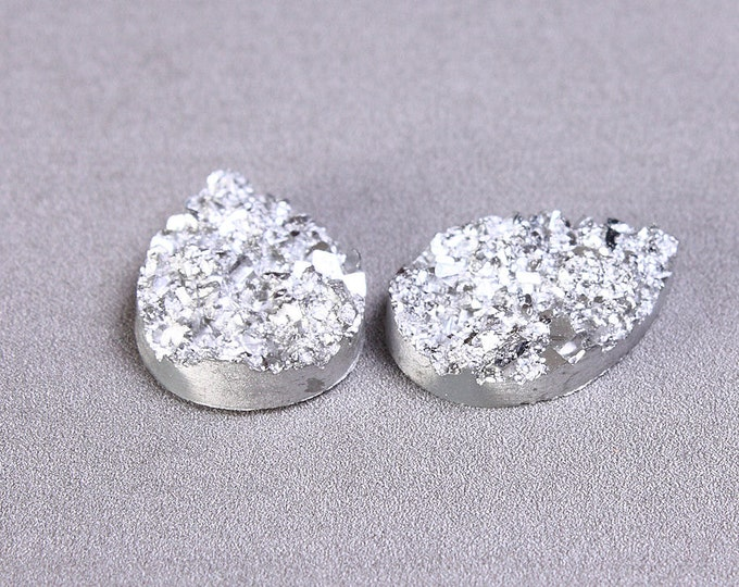 Silver grey drop resin cabochon 14mm x 10mm - Faux druzy cabochon - Faux drusy cabochon - Textured cabochons (1152) - Flat rate shipping
