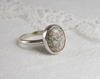 Lace Agate Ring Artisan Ring Minimal Gemstone Ring Handmade 925 Silver Ring Simple Ring Lace Agate Jewelry