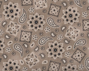Cowgirl Up by Quilting Treasures, Tan Bandana Fabric, Tan Fabric,  Bandana Fabric, 1 yard Fabric, 01663