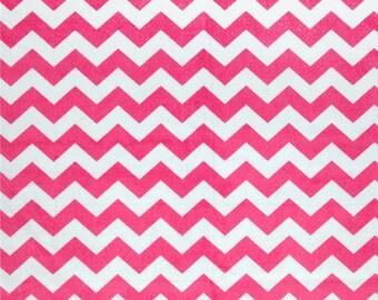 "2"" Large Chevron Minky, Hot Pink Minky, 1 Yard Fabric"