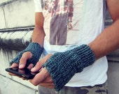 Mens Fingerless Gloves Blue Knit - Unisex Fingerless Gloves Large Fingerless Gloves Tweed Crochet - AutumnAndAmber