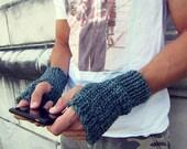 Mens Fingerless Gloves Blue Knit - Unisex Fingerless Gloves Large Fingerless Gloves Tweed Crochet - AutumnAndAmber