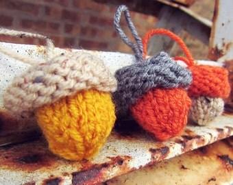 Knit Acorn Ornaments Crochet Autumn Thanksgiving Decor Orange Gray Yellow Fall Decoration Set of Three