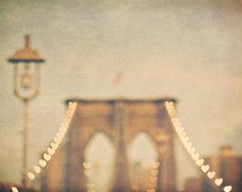 Romantic Brooklyn Bridge photo, dreamy New York City decor with bokeh hearts