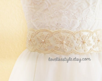 Pearl Beading Cotton Lace with Ivory Satin Ribbon Sash, Bridal Sash, Bridesmaid Sash , Wide Sash / SH-38